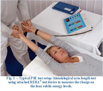 Fig. 1 - Typical PSE test setup: kinesiological arm-length test using attached REBA test device to measure the charge on the four subtle-energy levels