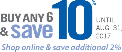 Buy any 6 and get 10% off until August 31st